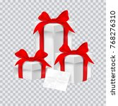 gift box with red ribbon.... | Shutterstock .eps vector #768276310