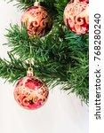 balls on a christmas tree close ...   Shutterstock . vector #768280240