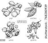 superfood hand drawn vector... | Shutterstock .eps vector #768280939