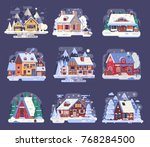 winter country houses and... | Shutterstock .eps vector #768284500