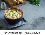 chicken  soup. homemade fresh... | Shutterstock . vector #768285226