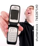 man with old cell phone... | Shutterstock . vector #768287140