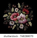 vintage flower embroidery ... | Shutterstock .eps vector #768288070
