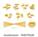 pasta set  realistic style.... | Shutterstock .eps vector #768295630