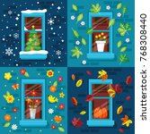 four seasons concept with... | Shutterstock .eps vector #768308440