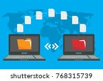 file transfer. two laptops with ... | Shutterstock .eps vector #768315739
