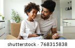 happy father and daughter and... | Shutterstock . vector #768315838