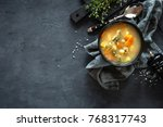 fresh fish soup in bowl on... | Shutterstock . vector #768317743