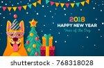 2018 happy new year carnival...   Shutterstock .eps vector #768318028