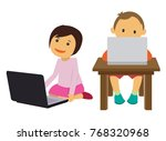 two young children playing...   Shutterstock .eps vector #768320968