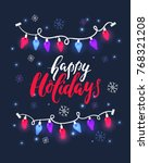 vector holiday calligraphy and... | Shutterstock .eps vector #768321208