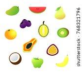 12 fruits vector | Shutterstock .eps vector #768321796