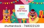 2018 happy new year carnival...   Shutterstock .eps vector #768322120