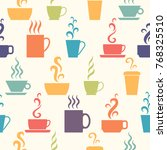 seamless pattern with cup  mug  ... | Shutterstock .eps vector #768325510