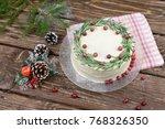 homemade cake with white... | Shutterstock . vector #768326350
