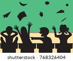 while the teacher is away... | Shutterstock .eps vector #768326404