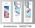 roll up banner stands  flat...   Shutterstock .eps vector #768327748