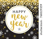 black gold circle happy new... | Shutterstock .eps vector #768329359