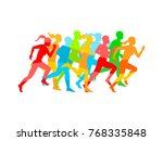 man   woman running. set of... | Shutterstock .eps vector #768335848