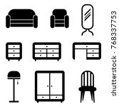 furniture set vector icons | Shutterstock .eps vector #768337753