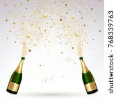 greeting card with champagne... | Shutterstock .eps vector #768339763