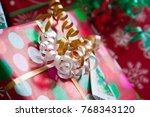 close up of white and gold... | Shutterstock . vector #768343120