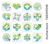 medical tourism icons signs set ... | Shutterstock .eps vector #768349048