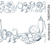 seamless horizontal borders of... | Shutterstock .eps vector #768349186