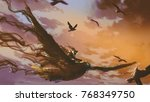 man on the giant bird flying in ... | Shutterstock . vector #768349750