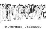 illustration of city crowd with ... | Shutterstock .eps vector #768350080