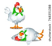 two animated funny chicken in a ... | Shutterstock .eps vector #768351388