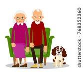 older couple. on the sofa... | Shutterstock .eps vector #768352360