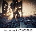 apocalyptic sunset. creative 3d ... | Shutterstock . vector #768352810
