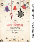 merry christmas greeting card... | Shutterstock . vector #768358834