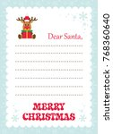 cartoon letter to santa with... | Shutterstock .eps vector #768360640