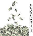 flying banknotes of hundred... | Shutterstock . vector #768362929