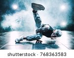 young man break dancing in club ... | Shutterstock . vector #768363583