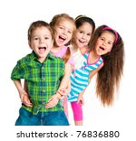 laughing small kids on a white... | Shutterstock . vector #76836880