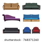 sofa colored vector set.living... | Shutterstock .eps vector #768371260
