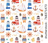 nautical watercolor seamless... | Shutterstock . vector #768371473