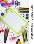 school supplies with a small... | Shutterstock . vector #768372688