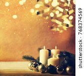christmas candles and ornaments ... | Shutterstock . vector #768374569