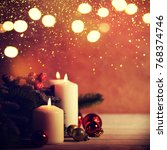 christmas candles and ornaments ... | Shutterstock . vector #768374746