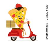 cute smiling funny cute pizza...   Shutterstock .eps vector #768375439