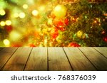 christmas table background. new ... | Shutterstock . vector #768376039