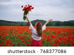 young smiling girl with long... | Shutterstock . vector #768377086