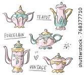 set illustration with antique... | Shutterstock .eps vector #768377710