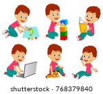 boy different activity draw... | Shutterstock .eps vector #768379840