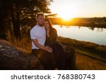 young loving married couple on... | Shutterstock . vector #768380743