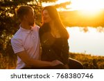 young loving married couple on...   Shutterstock . vector #768380746